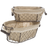 Metal Wire Basket Set With Fabric Lining